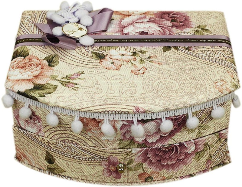 AVMART Purple & White Floral Fabric Wood Cosmetic, Makeup, Jewellery, Storage Travel Organizer Vanity Box, Gift, Home Decor, Utility Box (16x21 cm) V-8 Makeup box, Jewellery box, Cosmetic Vanity Box(Multicolor)