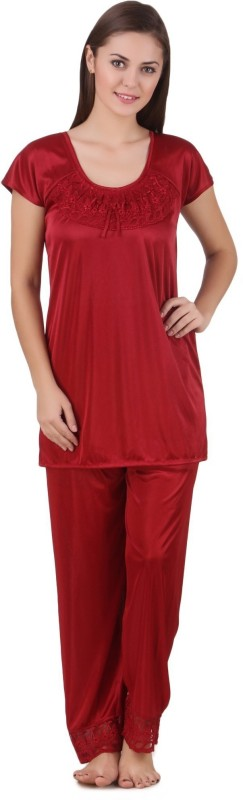 Freely Women Solid Maroon Top & Pyjama Set