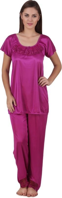 Freely Women Solid Light Blue Top & Pyjama Set