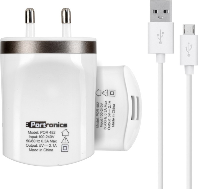 Portronics AC-USB-Plug 2.1A Mobile Charger(White)