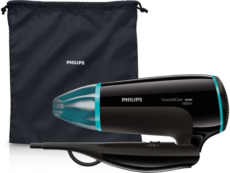 Philips essential care foldable hair dryer powerful drying with ionic technology (limited edition) Hair Dryer(127 W, Black)