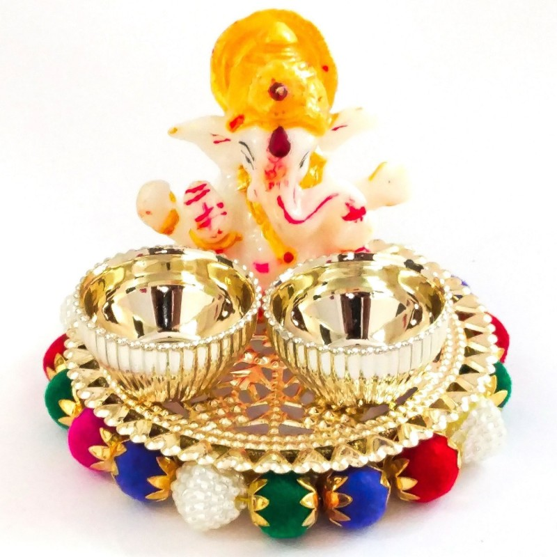 Sahaya Special Pooja Thali for Diwali Bhaidooj Marriage Function and all occasion IZ18ThaliSetGanesha-002 Gold Plated(1 Pieces, Multicolor)