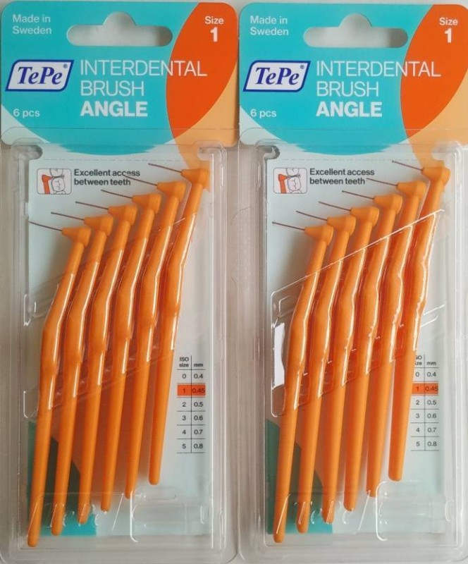 TePe Interdental Brush Angle 0.45mm Extra Soft Toothbrush(Pack of 6)