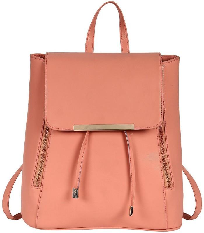 SALEBOX Metal Flap with Magnetic Snap 10 L Backpack(Pink)