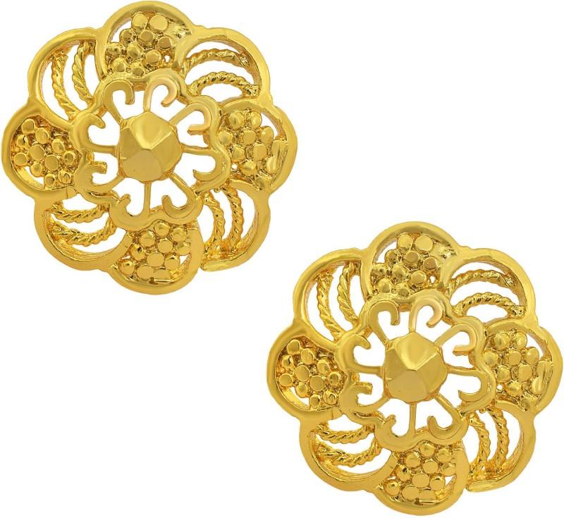 Memoir Memoir Gold plated Brass, Traditional Ethnic, Bridal Stud Earrings Women Fashion, Latest design, Wedding Purpose Brass Stud Earring