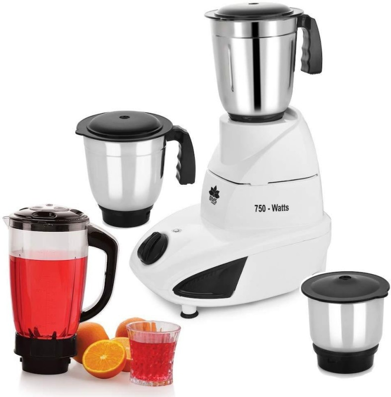 BMS Lifestyle 750 W Mixer Grinder with 3 Stainless Steel and Liquid Juicer Jar 750 Juicer Mixer Grinder(White, 3 Jars)