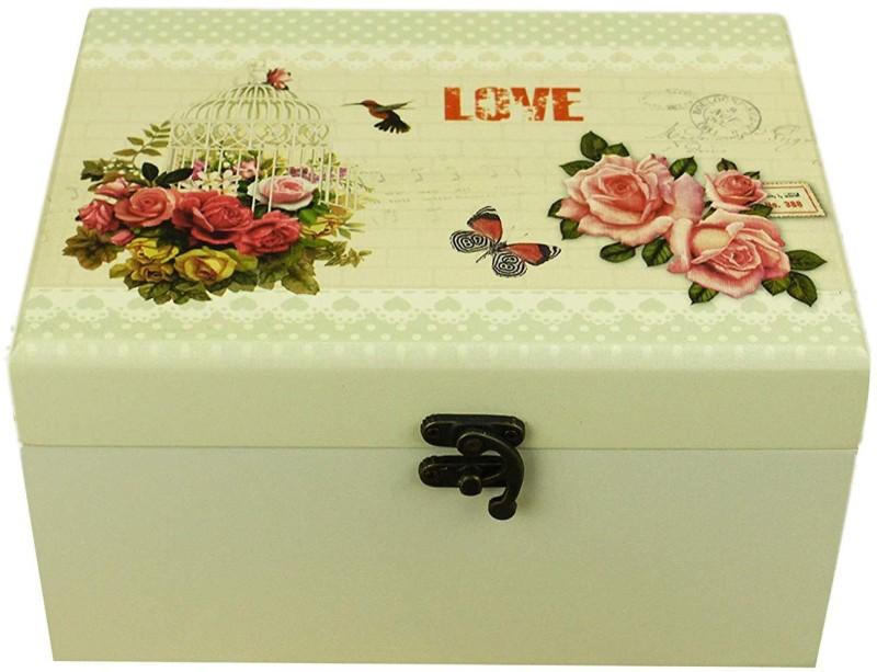 AVMART Love Rose Cage Wood Cosmetic, Makeup, Jewellery, Storage Travel Organizer Vanity Box, Gift, Home Decor, Utility Box (22x16 cm) V-2 Makeup box, Jewellery box, Cosmetic Vanity Box(Multicolor)