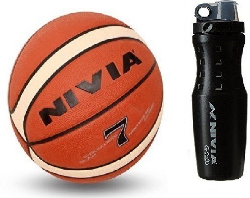 Nivia Combo of Two, One 'Engraver' Basketball Size -7 and one 'G 2020' Sipper (Color On Availability) - Basketball Kit