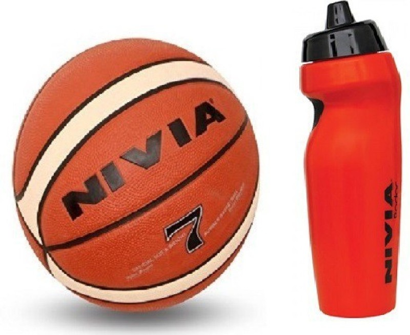 Nivia Combo of Two, One 'Engraver' Basketball Size -7 and one 'Radar' Sipper (Color On Availability) - Basketball Kit