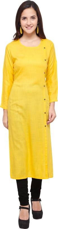 F Plus fashion Women Solid Straight Kurta(Yellow)