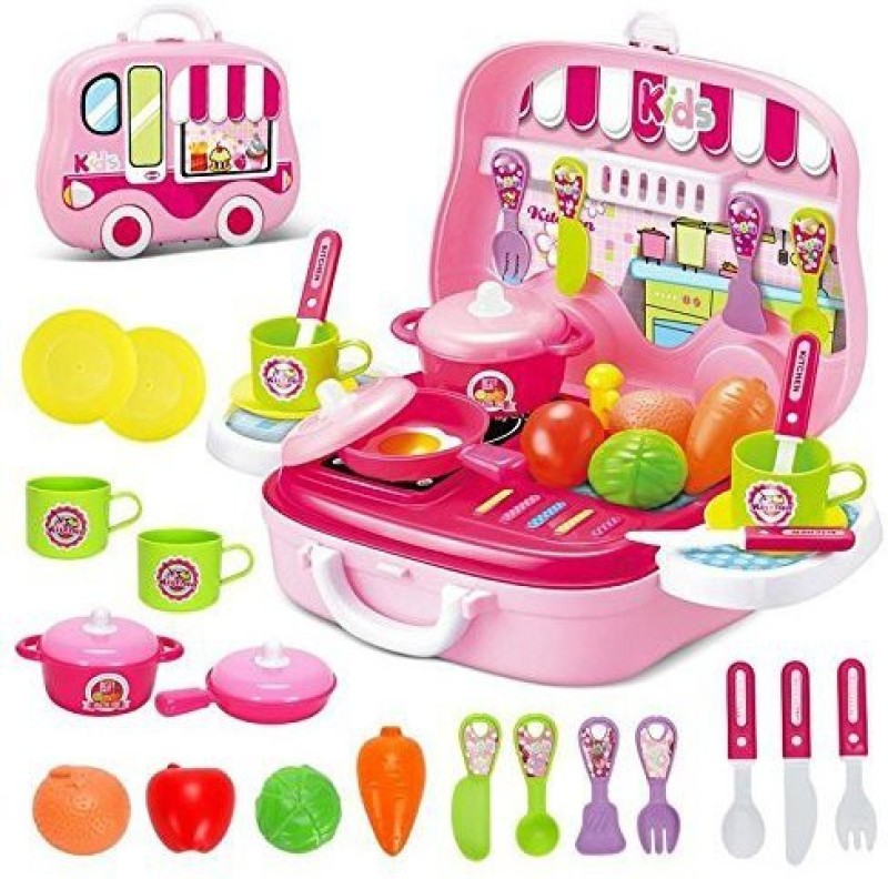 Happy GiftMart Kitchen Set Cooking Food Pretend Play Toy Playset Role Playing Toy (Pink 26 Pcs Wheel)