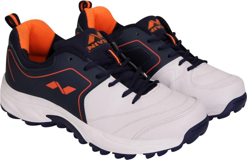 Nivia Marsh Cricket Shoes For Men(White, Blue)