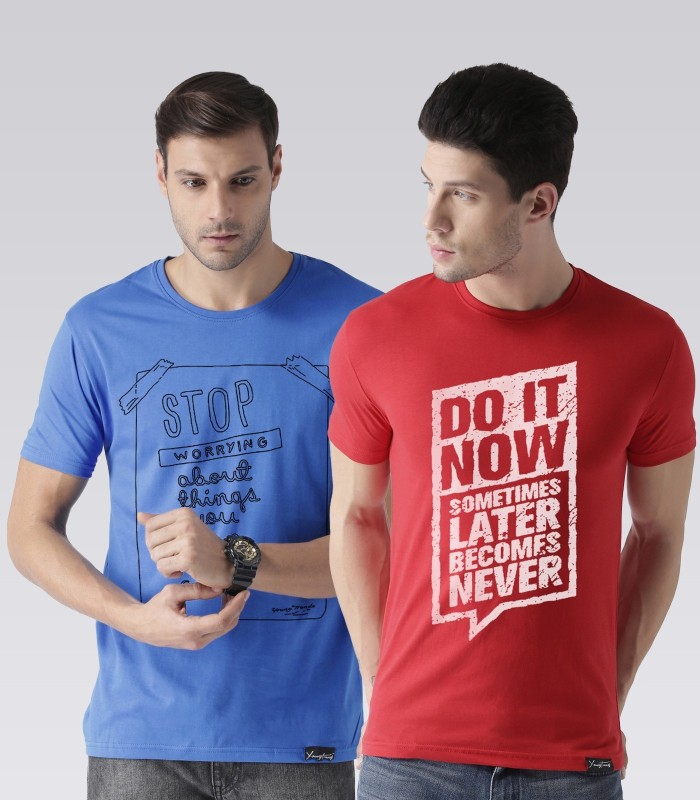 Young Trendz Typography Men Round or Crew Blue, Red T-Shirt(Pack of 2)