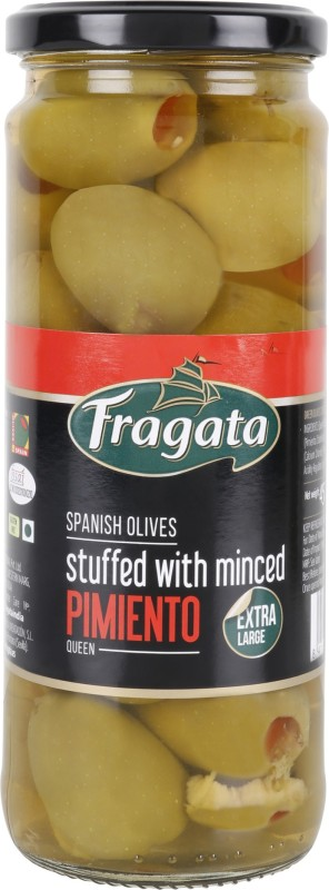 Fragata Spanish Green Pimiento Stuffed Olives (QUEEN) Olives & Peppers(450 g)