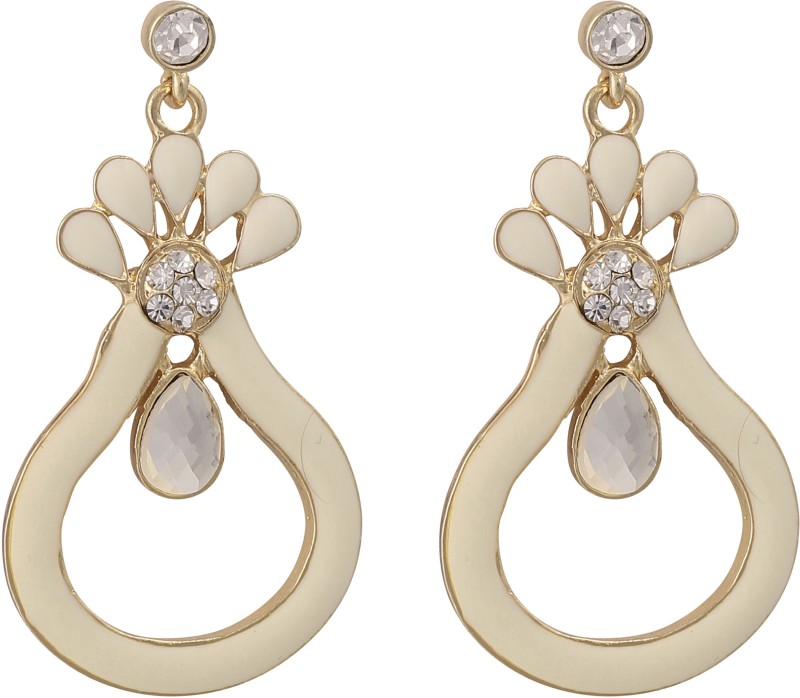 Jaisvi Collection Off White Color Latest Trendy Earrings For Women & Girls Opal Alloy Drops & Danglers