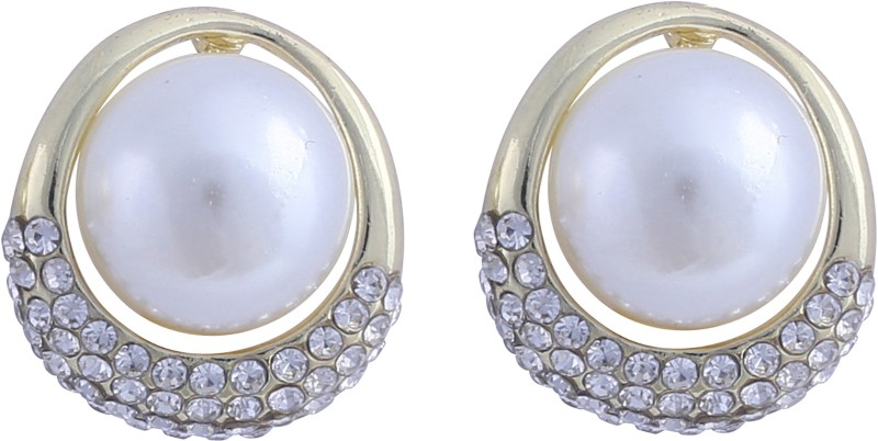 Jaisvi Collection Off White Color Stud Latest Trendy Earrings For Women & Girls Opal Alloy Cuff Earring