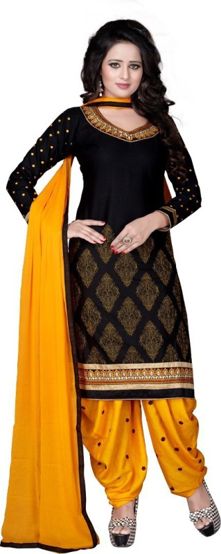 FabTag - Fashion Ritmo Cotton Embroidered, Self Design Semi-stitched Salwar Suit Dupatta Material