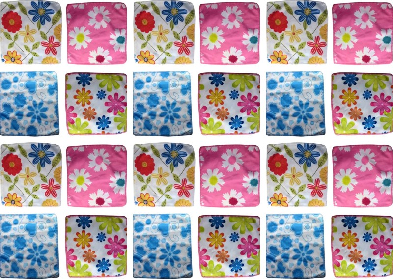 Best Flower Printed Handkerchief with Soft & Good quality stuff for Kids and Women,22*22 cm,Multi Design and Multi Color,Pack of 24 Handkerchief(Pack of 24)