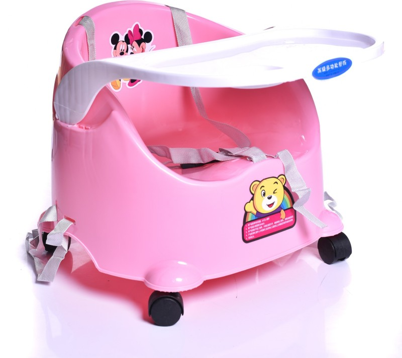 Iris 2 in 1 Booster Seat for Baby Infant, Portable Adjustable W/Tray Cup Holder Safety Belt, Toddler Feeding Floor Seat(Pink)