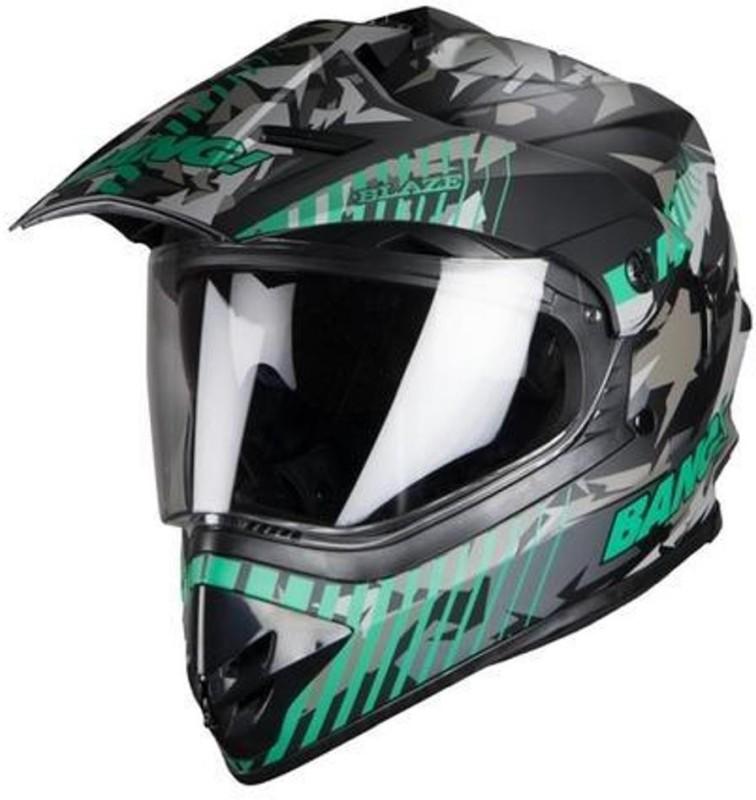 Steelbird SB-42 BLAZE Motorbike Helmet(MAT BLACK-GREEN)
