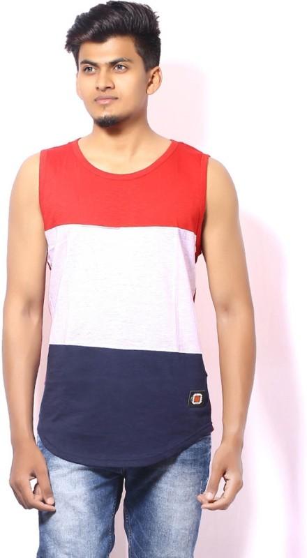 SEVNIX Color block Men Round Neck Red T-Shirt