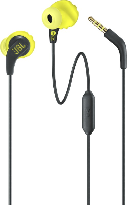 JBL Endurance Run Wired Headset with Mic(Yellow, In the Ear)