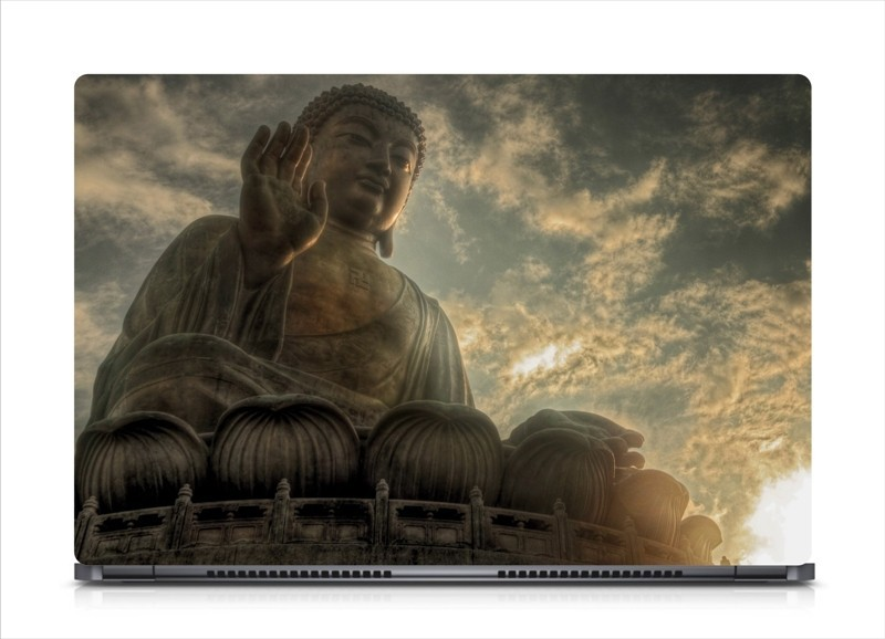 HD Arts Buddha Statue Clouds ECO Vinyl Laptop Decal 15.6