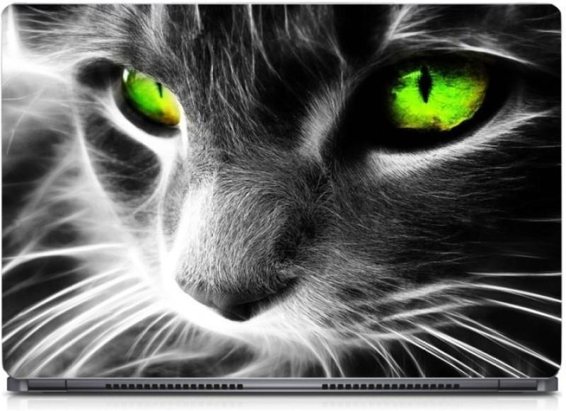 HD Arts Green Cat Eyes ECO Vinyl Laptop Decal 15.6