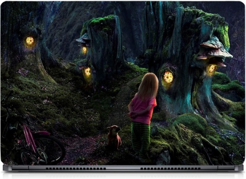 HD Arts Cute Girl in Fantasy Forest ECO Vinyl Laptop Decal 15.6