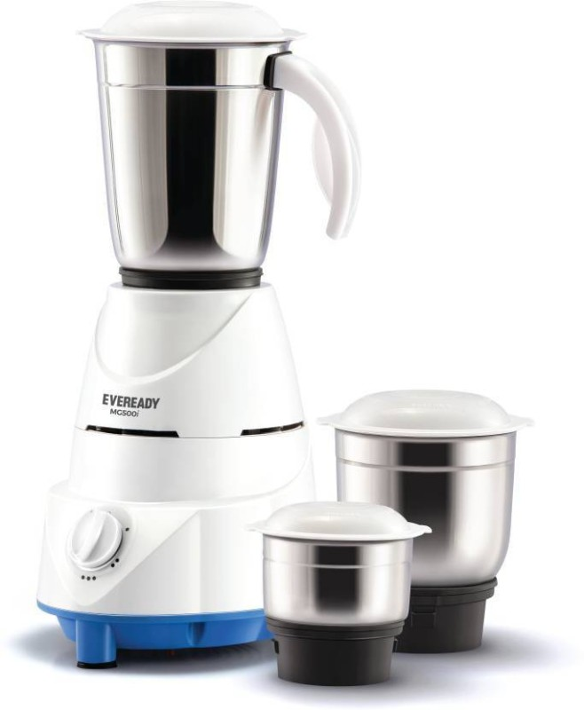 Eveready MG500 white 500 Juicer Mixer Grinder(White, 3 Jars)