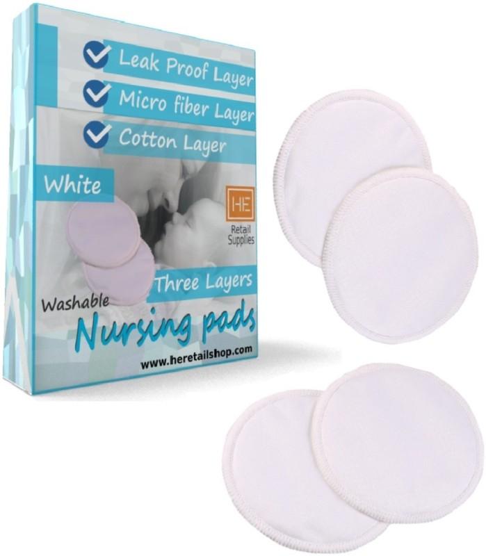 HE Retail Supplies 2 pair, leak proof reusable baby milk feed bra pads, 3 layer, feeding Pad (Pack of 4) Nursing Breast Pad(Pack of 4)
