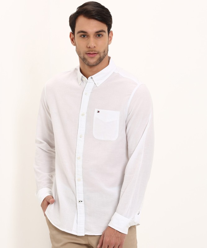 Tommy Hilfiger Men Solid Casual White Shirt