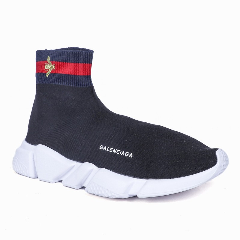 Balenciaga X Gucci Speed Trainer Limited Edition Slip On Sneakers For Men(Black)