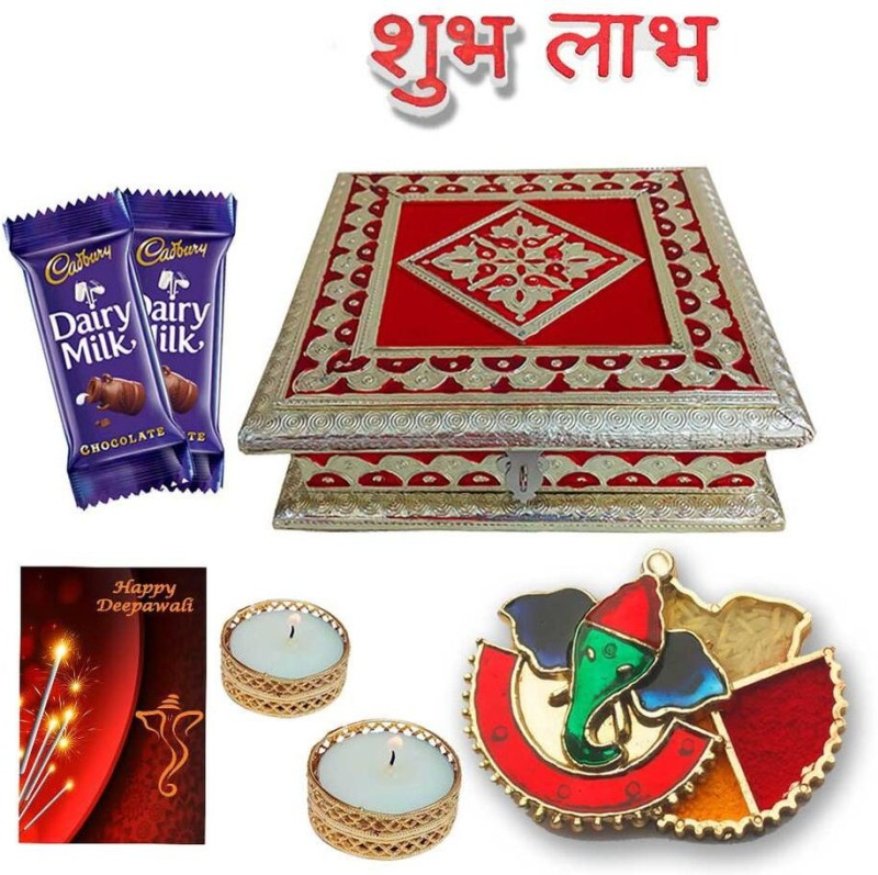 Maalpani Best Diwali Hamper with 6x6 Golden German Oxodise Dry Fruits Box,Designer Meenakari Ganesh Kankavati, Shubh Labh Stickers and 2 Tealight Candle With 2 Golden Candle Holder and ,2 pcs Cadbury Dairy Milk Chololate 13.8, Diwali Greeting Cards Combo(7)