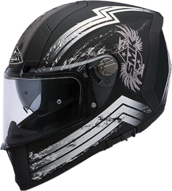 smk Force Eagle Pinlock Fitted Matt Black Grey MA261 Motorbike Helmet(Black)