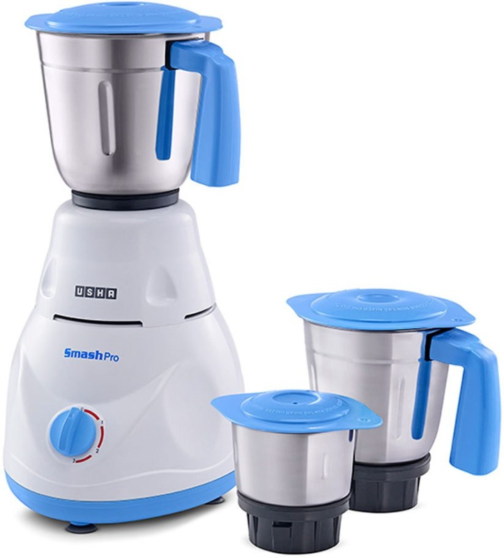 Usha Smash Pro MG3753 500 Mixer Grinder(White : Blue, 3 Jars)