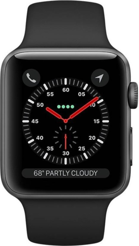 Apple Watch Series 3 GPS + Cellular - 42 mm Space Grey Aluminium Case with Sport Band(Black Strap Regular)