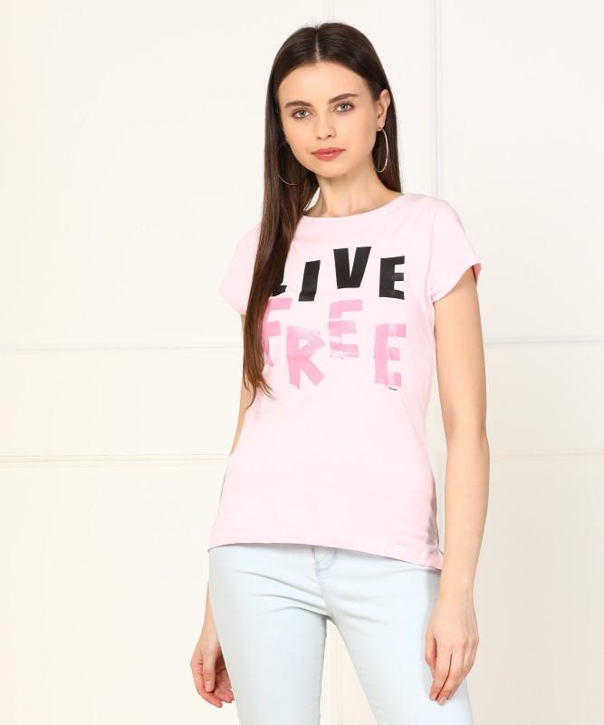 Wrangler Graphic Print Women Round Neck Pink T-Shirt