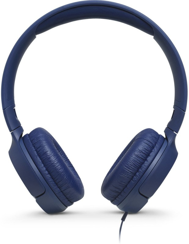 JBL T500 Wired Headset with Mic(Blue, Over the Ear)