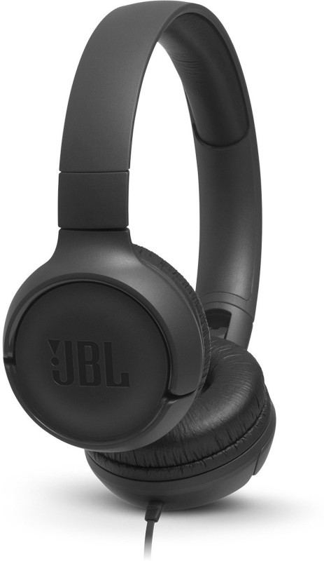 JBL T500 Wired Headset with Mic(Black, Over the Ear)
