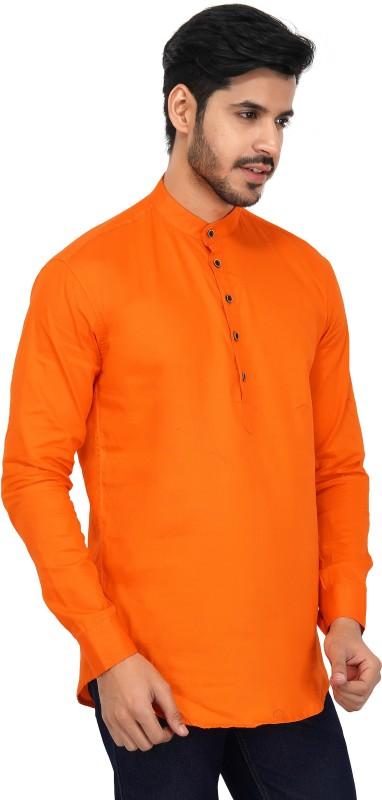 U TURN Men Solid Straight Kurta(Orange)