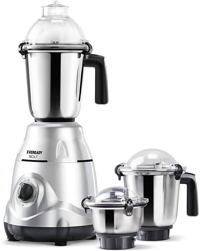 Eveready Present stylish Bolt Silver color 750 Juicer Mixer Grinder(Silver, 3 Jars)