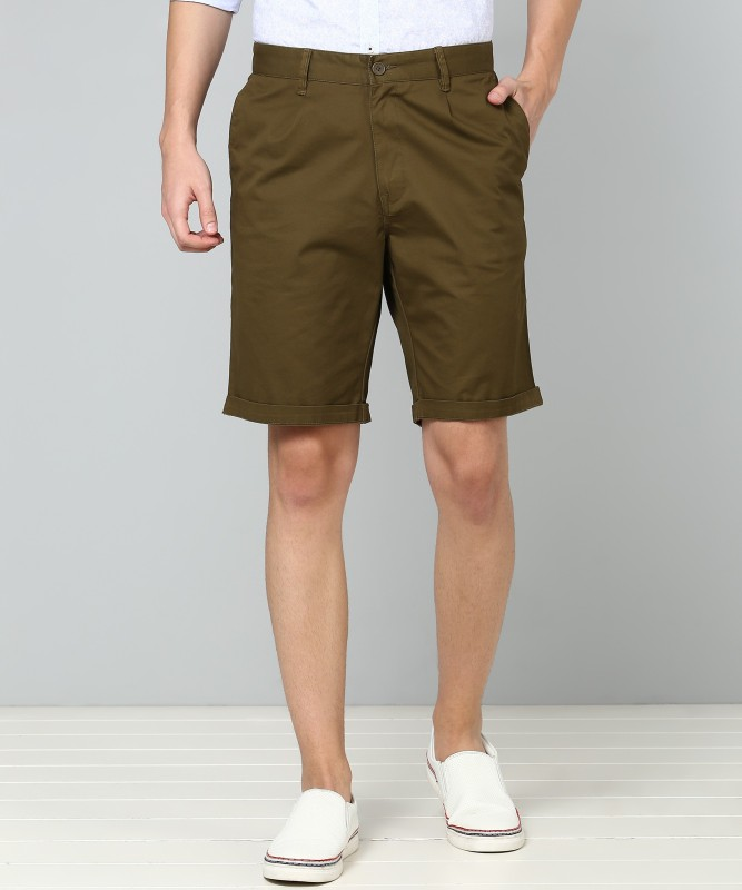 United Colors of Benetton Solid Men Green Chino Shorts