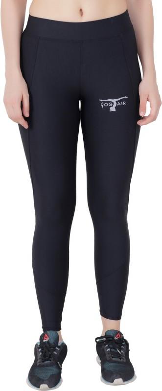 Yogair Printed Women Black Tights