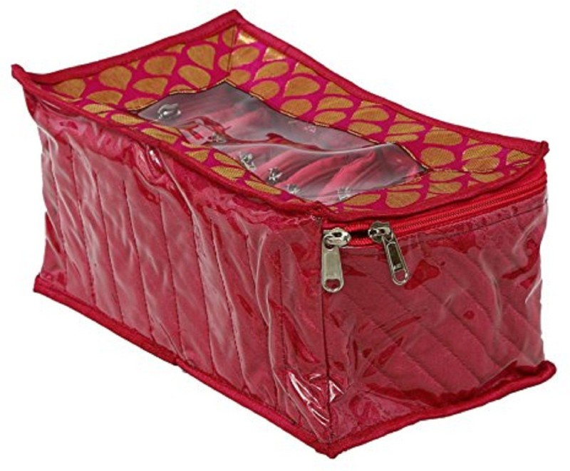 Kuber Industries Pink Fabric 10 Transparent Pouches Jewellery Box Casual Vanity Box(Pink)