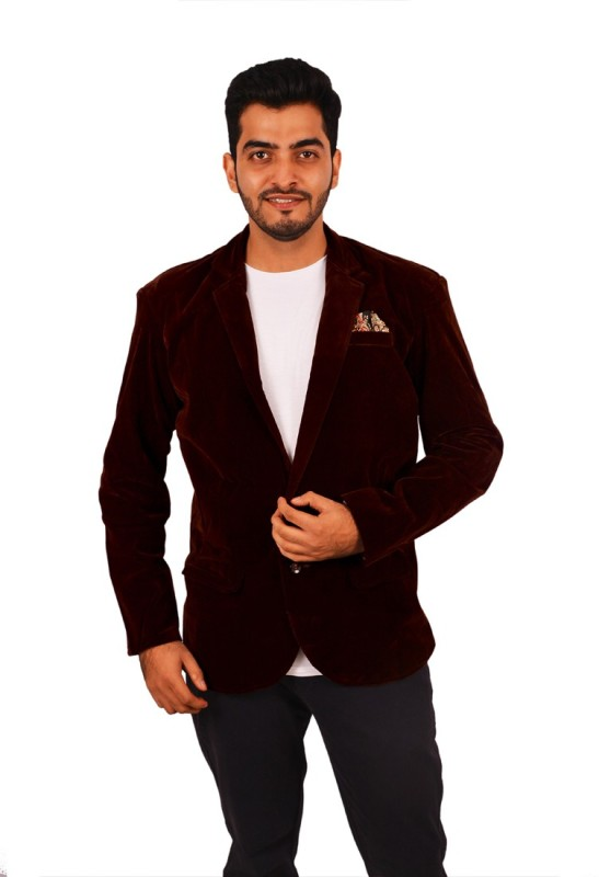 Honey Fashion Solid Single Breasted Party, Wedding Men's Blazer(Brown)