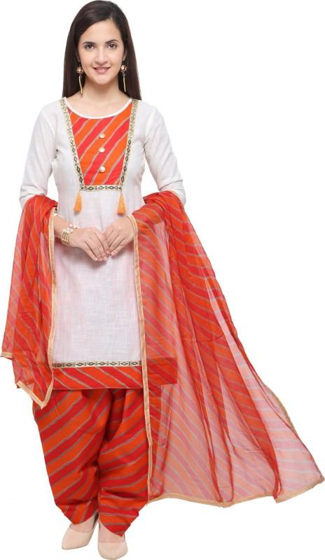 EthnicJunction Cotton Blend Printed Salwar Suit Material(Unstitched)