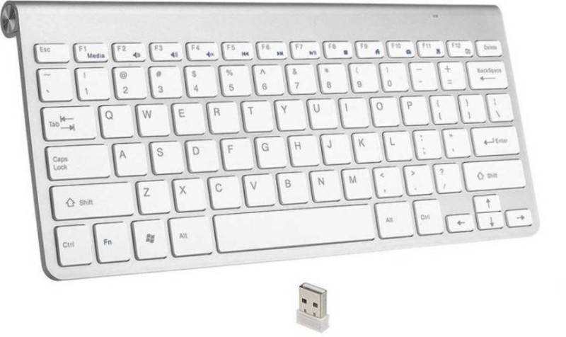 ShopyBucket Ultra Slim Wireless Keyboard with Mini USB Receiver Wireless Multi-device Keyboard (White) Bluetooth Tablet Keyboard(Silver)