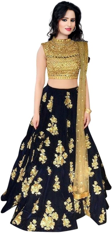 Zinariya Fab Embroidered Semi Stitched Lehenga, Choli and Dupatta Set(Dark Blue, Gold)