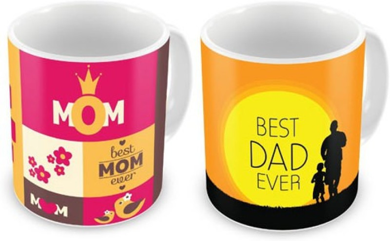 Exciting Lives Best Mom And Dad Set Ceramic Mug(330 ml, Pack of 2)